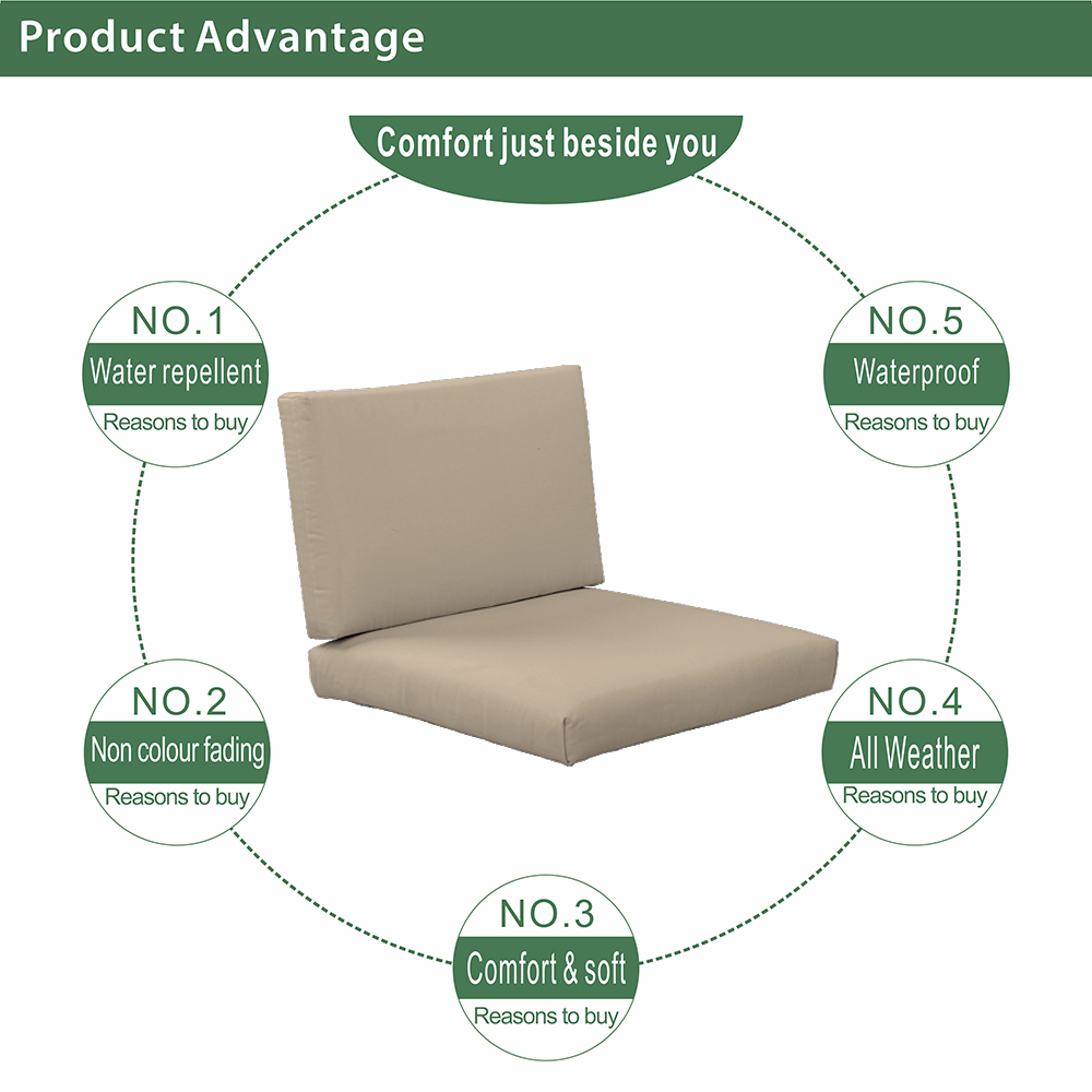 Good Quality Garden Set Chair Cushion Water Repellent Spun Fabric Outdoor Chair Cushions khaki Patio Deep Seat Cushions