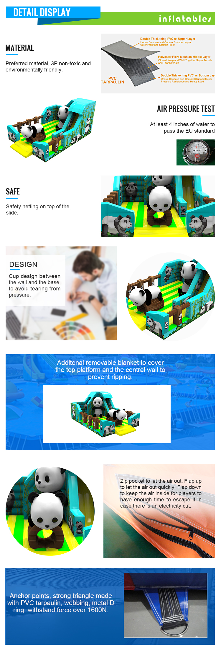 High Quality Panda Theme Combination Commercial Inflatable Bouncing Castle For Sale