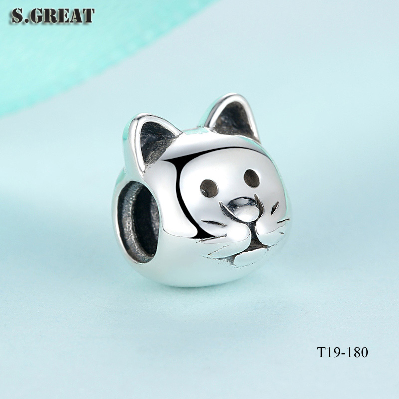 2016 wholesale sterling silver 925 bracelet curious cat charms fit pandora charms bracelet 925 sterling silver beads charms