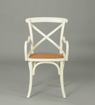 Home Furniture General Use White Finish Antique Armchair /wooden Cross Back  Chair(CH