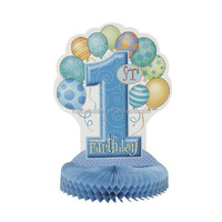 Blue Boys 1st Birthday Honeycomb Centerpiece Table Decoration Party Supplies