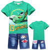 2015 Wholesale children boutique clothing kids aircraft shirt sleeve t shirts+ jeans 2pcs clothing sets