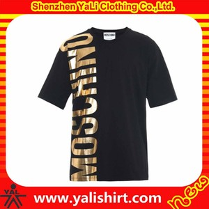 2015 high quality fashion short sleeve 100%cotton men gold foil t shirts printed in china