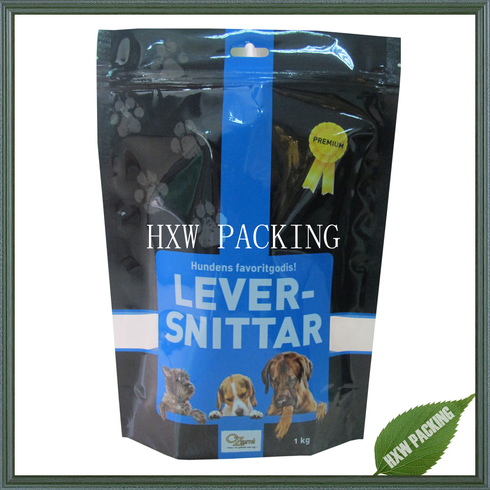 Mylar plastic bag for pet dog food packing 1kg size pet food bag with custom print