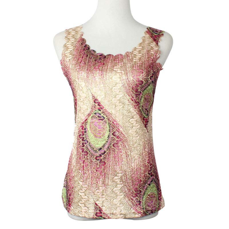 2015 Fashion Womens Lady Summer Peacock feathers Wave Neck T-Shirt Sexy Vest Tops Camisetas Mujer Feida