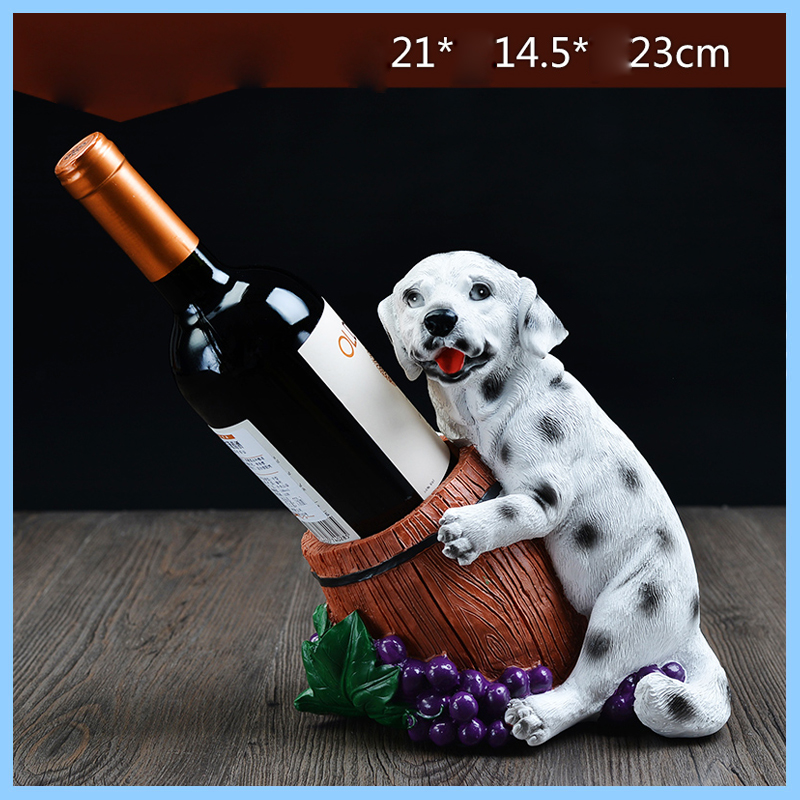 resin dog cute ornaments wine bottle holder wine rack