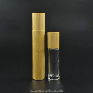Environmental natural bamboo lid 15ml clear/frosted Glass Roll on deodorant Bottle with stainless steel roller