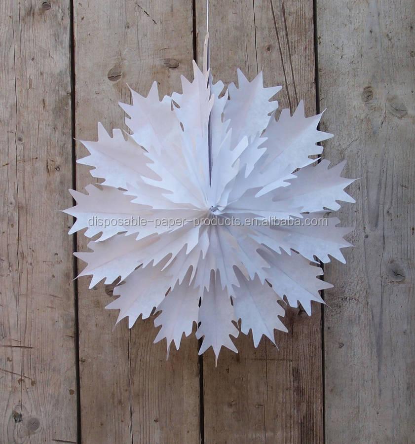 Paper Tissue Snowflake Christmas Decorations By Pearl And: 45 Cm Branco Do Floco De Neve De Natal Decorações De Papel