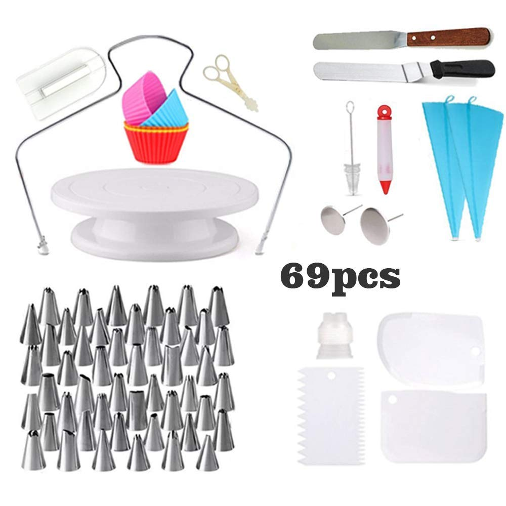 [69 pcs] Cake Decorating Supplies-Rotating Turntable Stand |Professional Cupcake Decorating Kit |Baking Supplies |Frosting&Piping Bags and Tips Set, Icing Spatula and Smoother, Pastry Tools |Cupcake