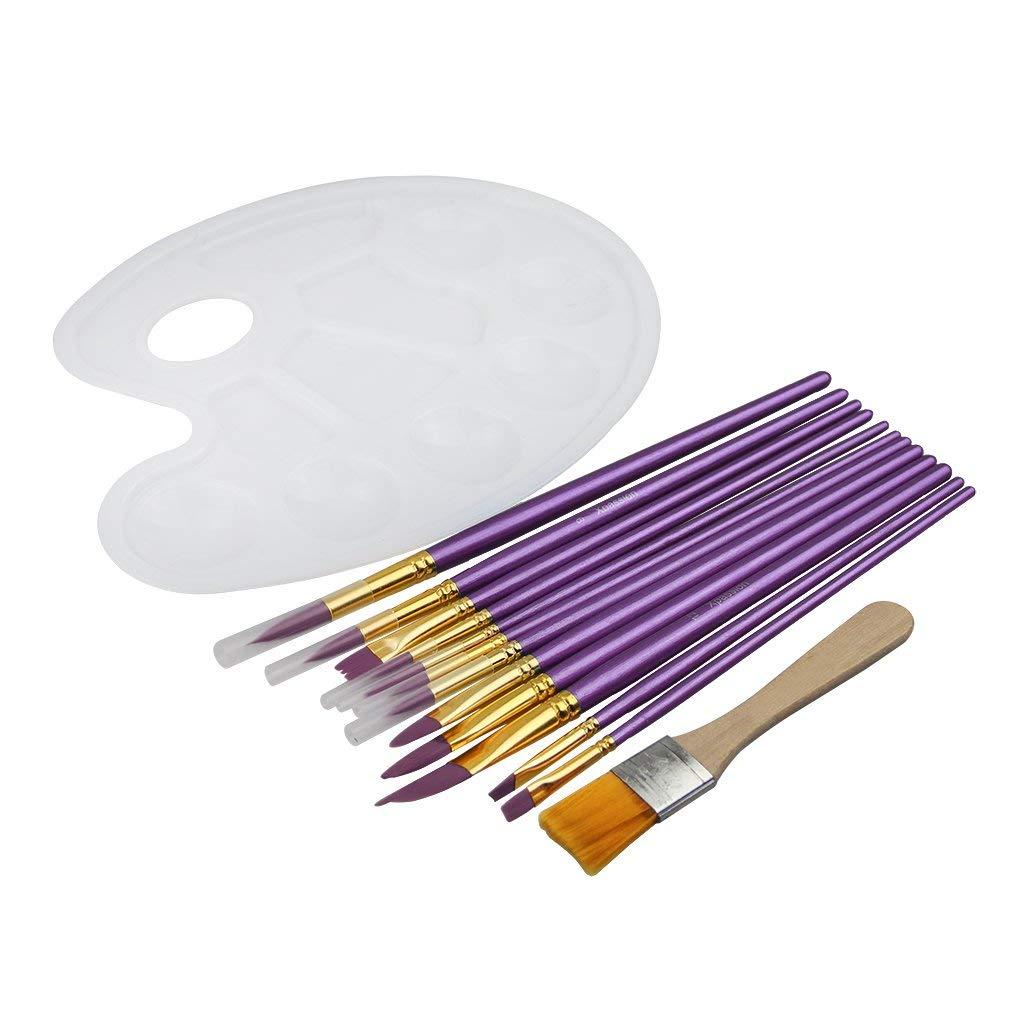 Geshiintel 10Pcs Same Nylon Hair Artist Paint Tool Watercolor Fine Head Point Tip Brushes Set