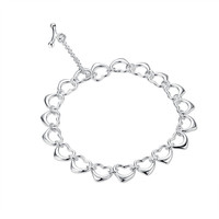 Wholesale Silver Plated Connected Hearts Charm Bracelet
