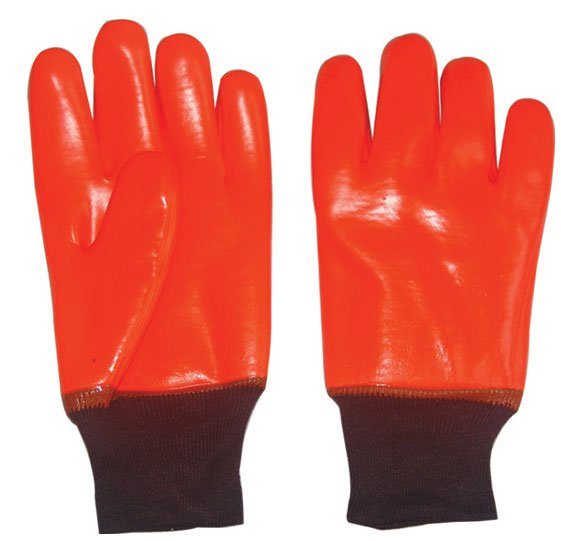Fluorescent PVC Fully Coated Glove Knit Wrist-Work Glove