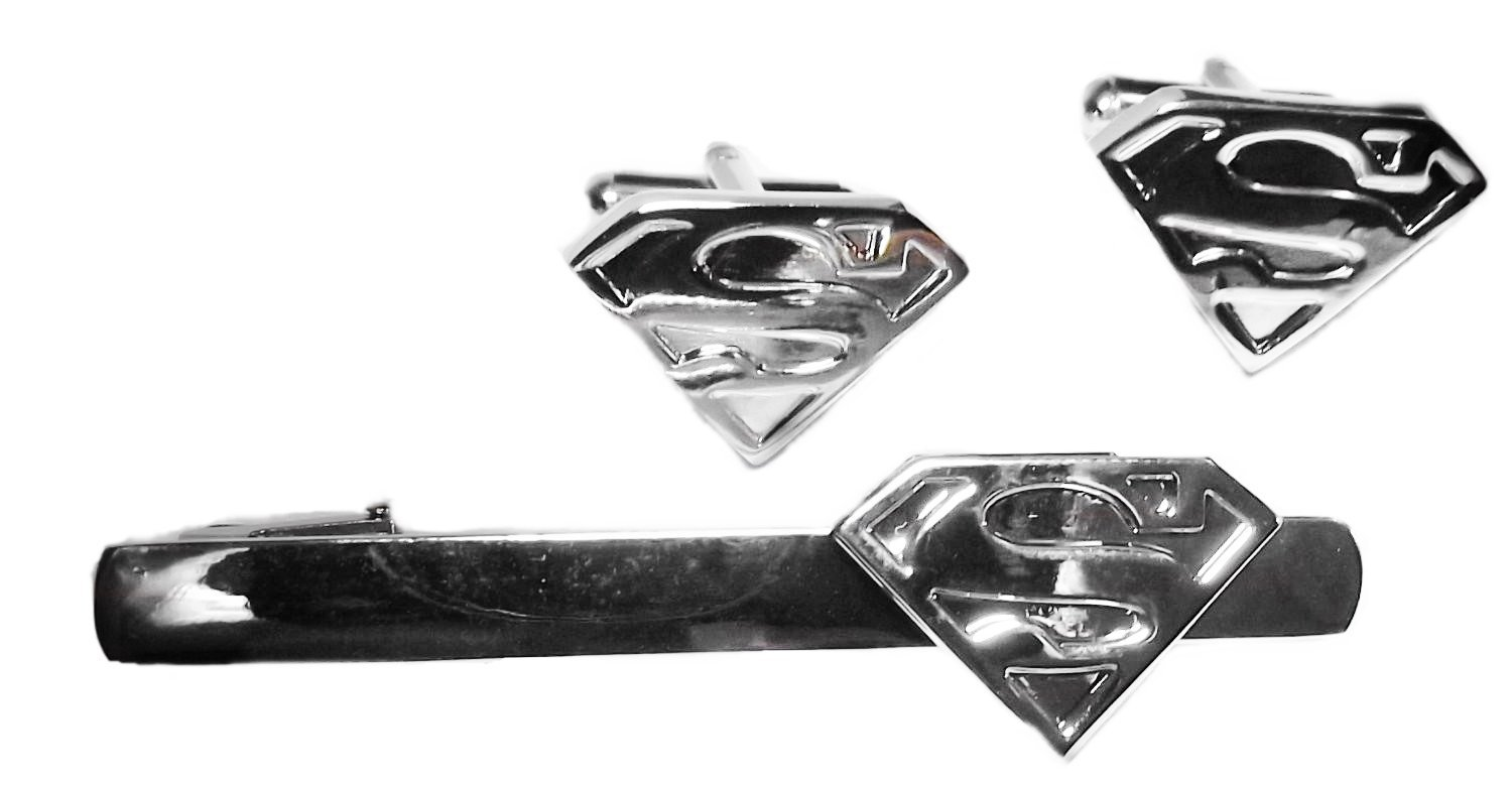 413420b87bba Get Quotations · DC Comics Superman S Logo Silver Cufflinks & Tie Clip Set