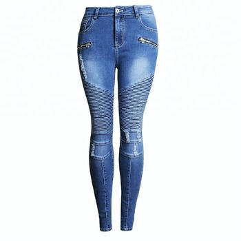 9a53144c3c38 Casual Plus Size Stretch Skinny High Waist lady jean Blue Pencil Slim denim  jean women
