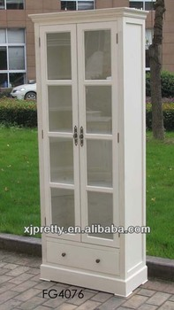 High Quality Antique White Wooden Display Gl Door Cabinet