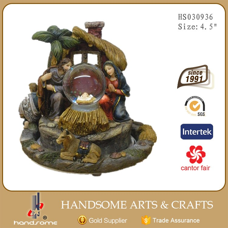 4.5 Inch Resinic Religious Items Home Functionality Decoration Holy Family Statue Rotatable Music Box