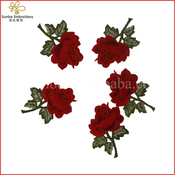 903e0a569946 Embroidered Red Rose Applique Custom Embroidered Patches Flower Applique  Designs For Clothes