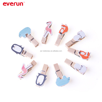 Decorative pine wooden clothes pegs Wooden Clip wooden pegs with animal photo