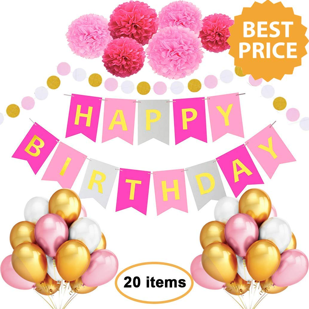 Birthday Decorations Large Happy Banner Pink Rose Gold For Woman Girl Balloons Pom Poms Party