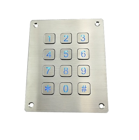 IP65 panel mounted 3X4 stainless steel blue led illuminated numeric keypad with flat key buttons