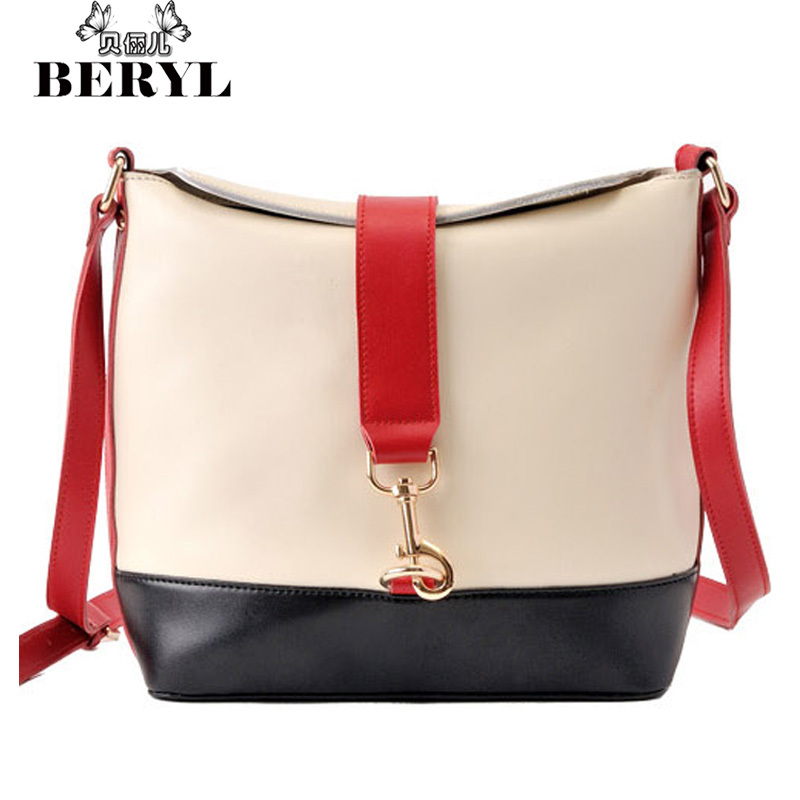 Brand Fashion Women's Shoulder Bags Vintage Panelled Women Messenger Bags PU Leather Bucket Bag Handbags Trade Bolsas Femininas