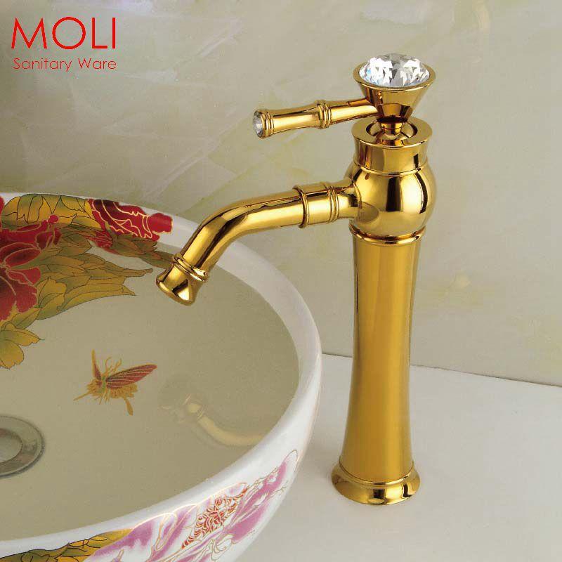 Bathroom faucets crystal handles gold luxury basin sink - Gold bathroom faucets with crystal handles ...
