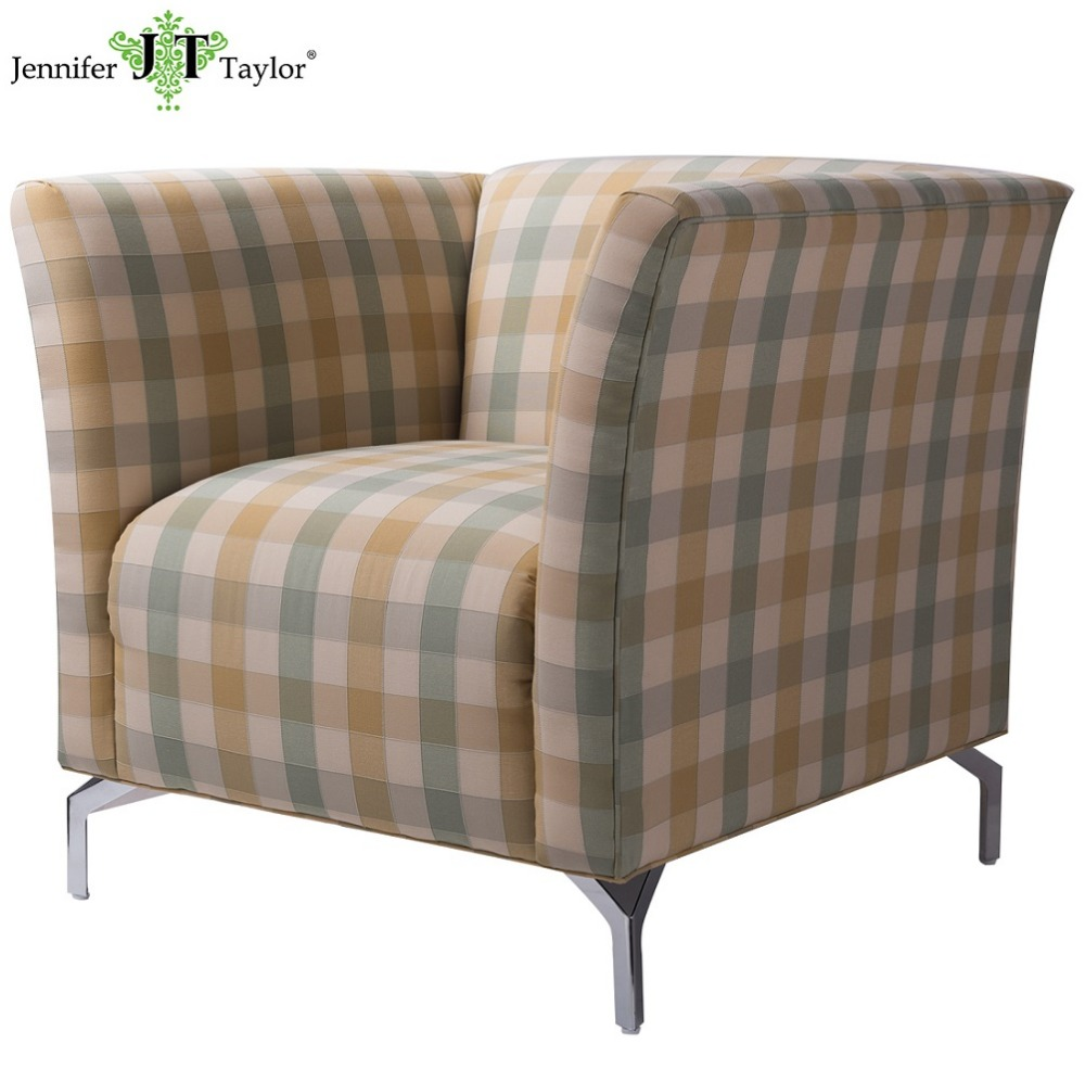 New modern fabric arm chair pastoral plaid upholstered single seat sofa with metal legs living room furniture