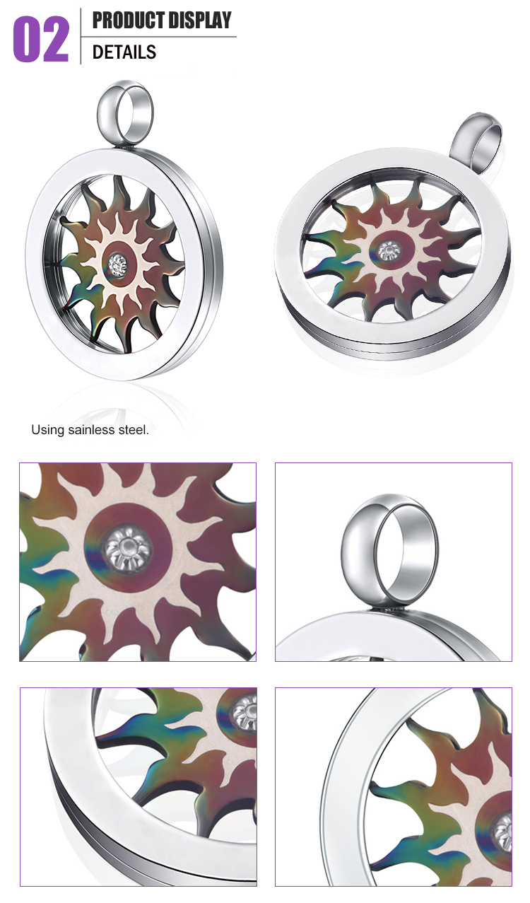 New popular products round stainless steel charm pendant