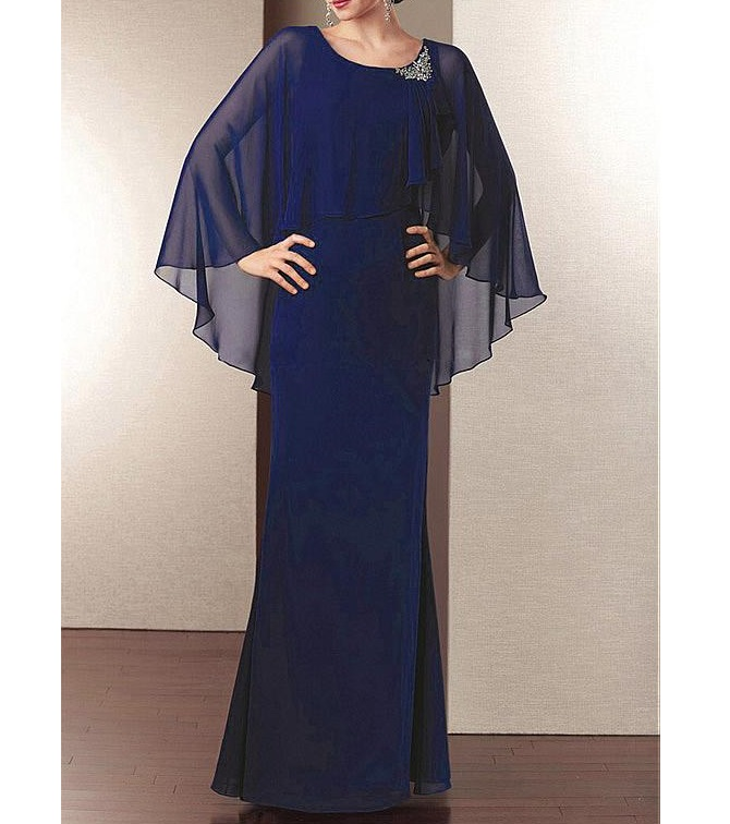 Gorgeous Blue Chiffon Sheath Jewel Neckline Full Length Mother of the Bride Dress Long Mother Evening Gowns