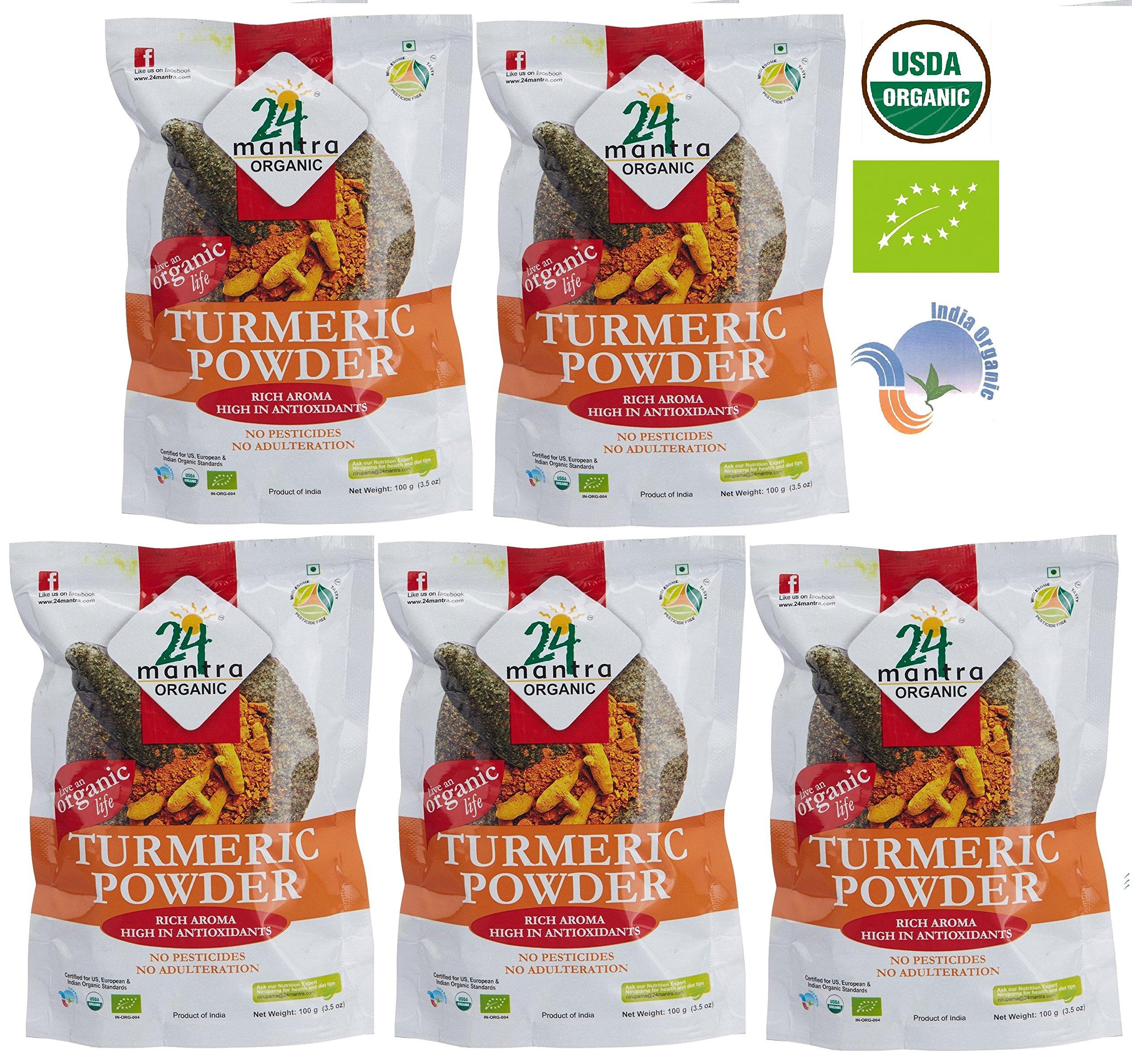 Organic Turmeric Powder - Curcumin Powder ★ USDA Certified Organic ★ EU Certified Organic ★ Pesticides Free ★ Sodium Free - Pack of 5 X 3.5 Oz (1 LB and 1.5 Ounces) - 24 Mantra Organic