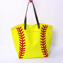 Wholesale Personalized Monogrammed Canvas Baseball Tote bags