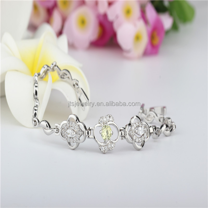 JTS 2016 Romantic Flower Bracelet 18K White Gold Plated Cuff Bracelets Bangles OEM Jewelry Supplier BR015