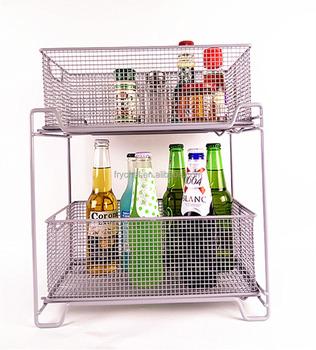 Two Tier Mesh Sliding Cabinet Basket , Organizer Drawer Storage Basket F0211