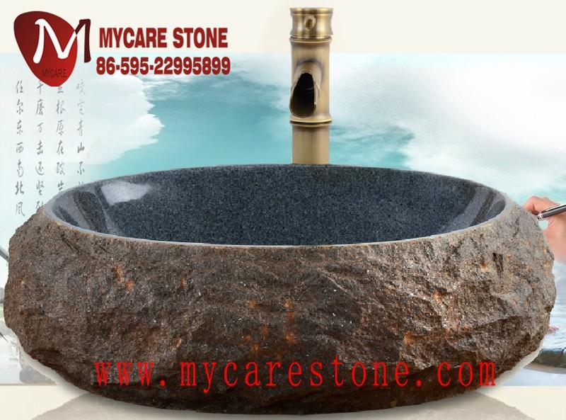 natuurlijke ronde spoelbak g654 graniet stenen wasbak voor buitenbadkamer wa # Wasbak Graniet_110647
