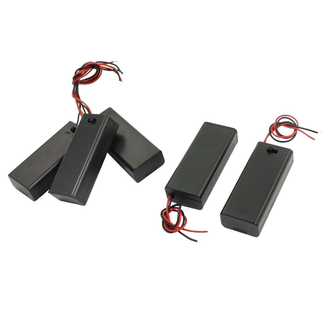 Battery Holder - TOOGOO(R) 5 PCS Black Shell 2 x 1.5V AAA Battery Holder Case Container Cell Box