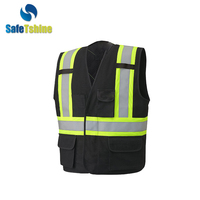 Wholesale black safety jacket work uniforms vest with pockets