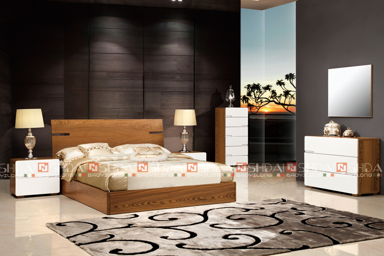Indian Bedroom Furniture Designs, MDF Modern Bed Designs, Wooden Double Bed  B 813