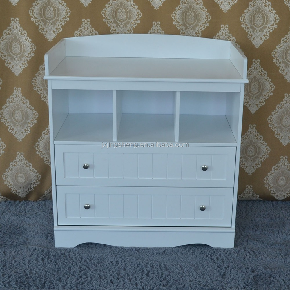 White 3 Layer Baby Changing Table With 2 Drawers Cabinet, Safe Baby  Furniture, En
