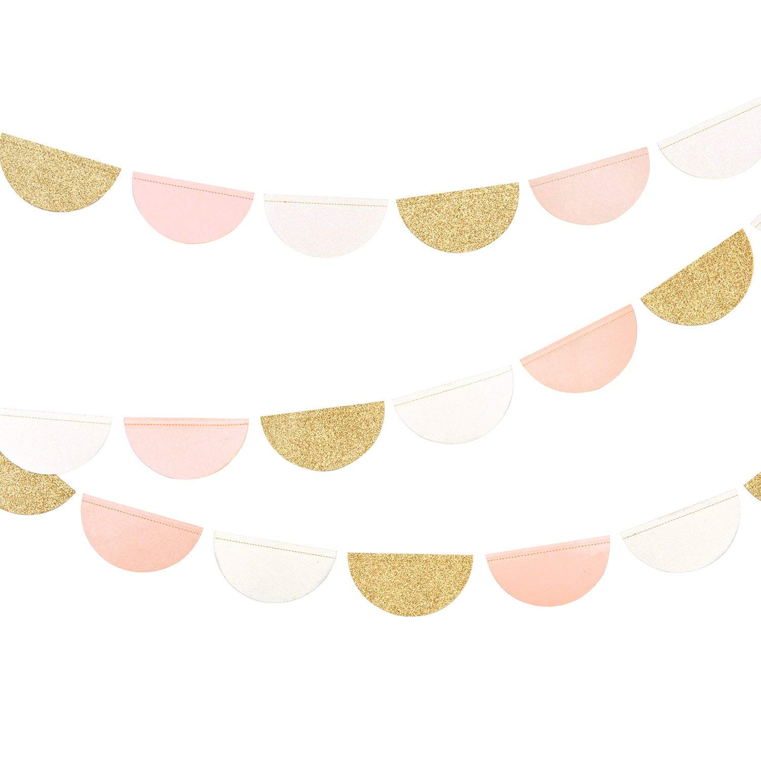 Ling's Moment 30Pcs 9.8Feet Hanging Glitter Party Garland Circle Dots Paper Banner Backdrop for Wedding, Bridal Showers, Birthday Party, Baby Shower, Event & Party Decor (Gold, Pink, White)