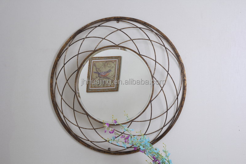Metal Round antique gold finish framed wall bevelled mirror