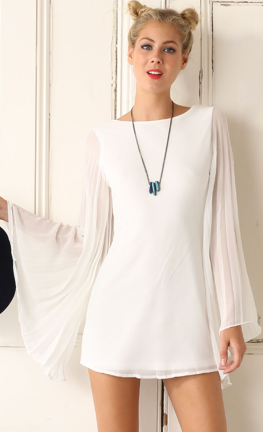 White dress chiffon - Get Quotations White Chiffon Dress With Flared Sleeves 2015 Winter Just Arrivals European And American Style Vintage Dress