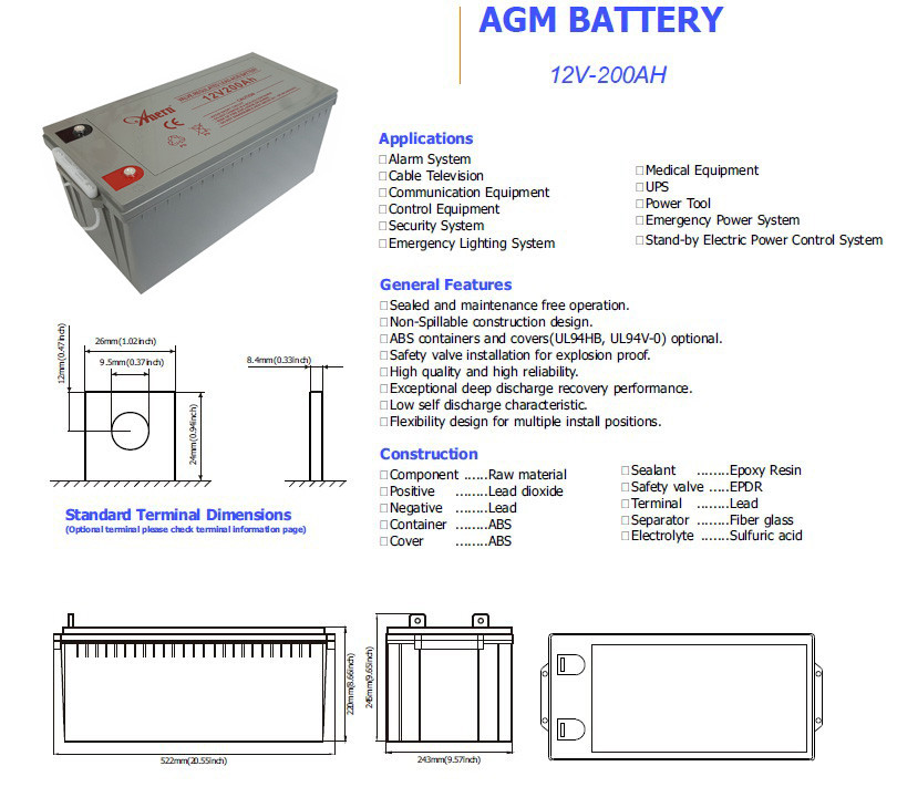 Deep Cycle Battery Price 12v 200ah Battery 24v Solar
