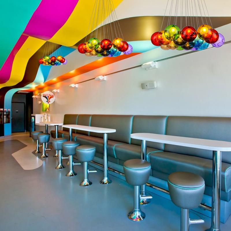 moderne color boule de verre lampes suspendues pour salle manger restaurant dcoration luminaire de luxe - Luminaire Boules Colores