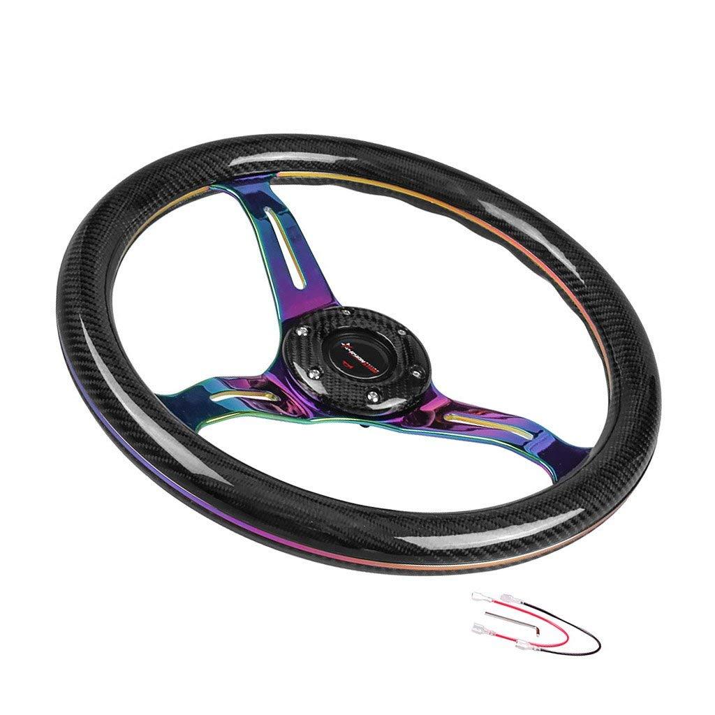 BLUE Rxmotor Drifting Deep Dish 350mm 6 Hole Sports Steering Wheel Blue Racing Trim Universal