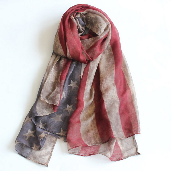VINTAGE Team USA Boho American Flag Knit Scarf, Infinity Loop Circle Scarf, Cotton Lightweight Patriots' Day Gift