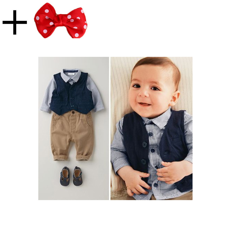 3 Pieces Set Autumn 2015 Children's Leisure Clothing Sets Kids Baby Boy Suit Vest Gentleman Clothes For Weddings Formal Clothing