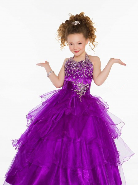 efcb311dda6 Get Quotations · Purple Blue Girl Pageant Dress Organza Ball-gown Low Back  Pick-up Skirt Beaded