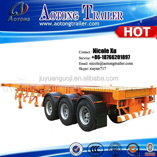 2/3 axle 20-53ft Skeleton Container Transport Chasis Semi Trailer Trucks For Sale