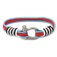 Colorful Nylon Survival Rope Anchor Bracelet Elastic Fish Hook Nautical Sailors Silver Stainless Steel Bracelet