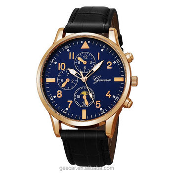 8594 New Arrival Geneva Brand Man Watch Fashion Casual Leather Quartz Wrist Watch